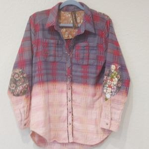 Anthropologie embroidered flannel button down